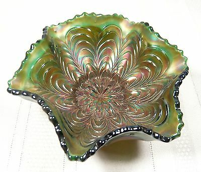 Vintage Peacock Tail Carnival Glass Bowl / Hat Amethyst 5 1/2 inch