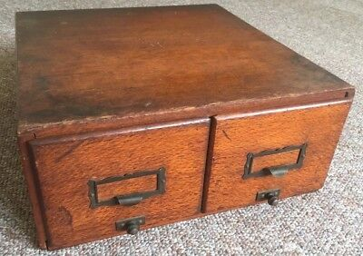Vintage Antique Library Catalogue Card File Filing Cabinet Wood 2 Drawer Storage