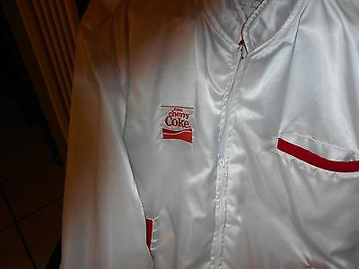 Collectible Souvenir Coca Cola White W/red Trim Jacket Size L- Enjoy Cherry Coke