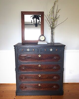 1897 Eastlake Antique Chest Dresser Redesigned Painted Charcoal Chalk Paint