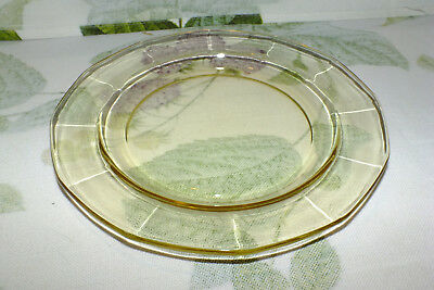 FOSTORIA CRYSTAL FAIRFAX TOPAZ yellow SALAD PLATE  7 available/price for one EXC
