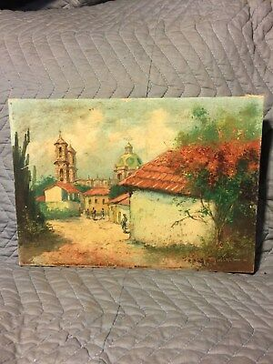 Antique & Or Vintage Oil On Canvas Painting Signed C. Jimenez Cipriano Cuadra