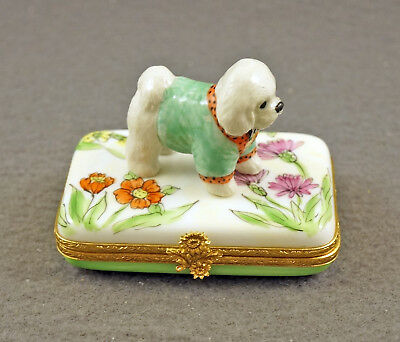 New French Limoges Trinket Box Dressed Up Bichon Frise Dog Puppy On Flowers