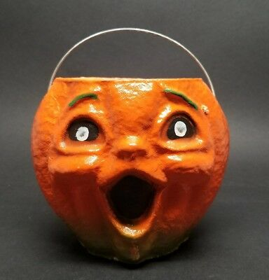 VINTAGE HALLOWEEN PAPER MACHE PUMPKIN CANDY PAIL JACK O LANTERN Painted eyes