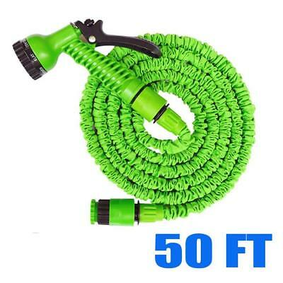 50 FT Feet Green Latex Deluxe Expanding Flexible Garden Water Hose +Spray Nozzle