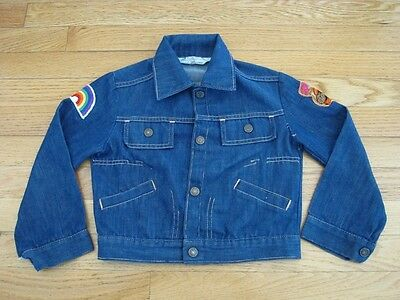 VINTAGE ORIGINAL JC PENNEY DENIM KIDS JACKET 1970's REDLINE PATCHES SIZE 10