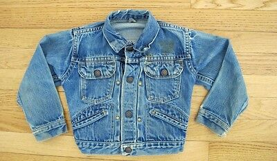 VINTAGE ORIGINAL JCP KIDS DENIM JACKET PLEATED 1960's SIZE 4 PERROT EMBROIDERY