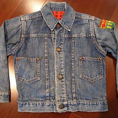 "VINTAGE ORIGINAL KIDS DENIM JACKET "" CIRCLE RANCH "" PLEDGE LINER 1950's"