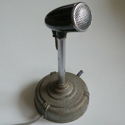 60s VINTAGE ZEPHYR MD RADIO BASE STATION DESK MICROPHONE ON STAND, WORKING WELL