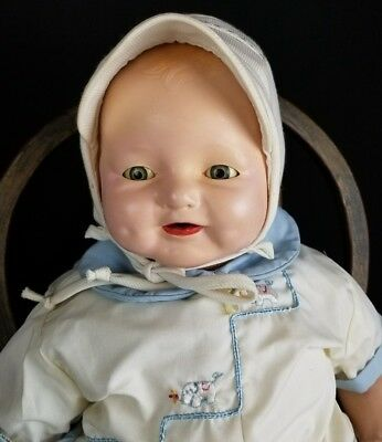 """Vintage Doll Baby Horsman Dimples Large Life Size 22"""" Comp & Cloth Boy Doll Cute"""