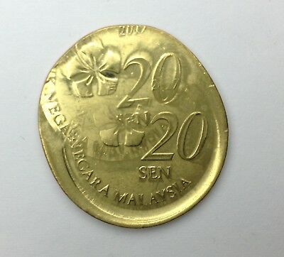 Malaysia 20 cent Mint Error Struck on 50 cent planchet WRONG PLANCHET COIN