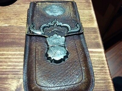 Antique 1884 Brn Leather Wallet Organizer Engraved  Intitials  Ap Used