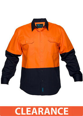 Prime Mover Wwnc901 100 Cotton High Visibility Drill Shirt Long Sleeve Orange/Na