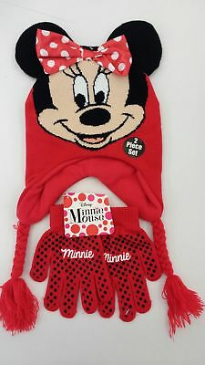 75e4e3fb00b3f DISNEY MICKEY MINNIE Mouse Knitted Beanie Winter Gift Hat Gloves ...
