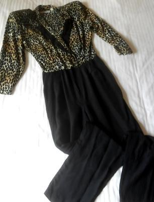 Vintage 1980's Renditions New York Made Usa Leopard Print & Black Jumpsuit 9-10