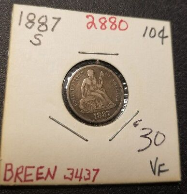 1887 S Seated Liberty Dime 2880