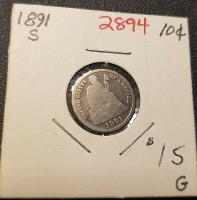 1891 S Seated Liberty Dime 2894