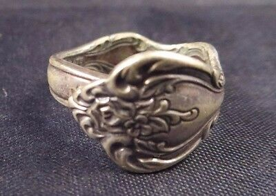 Vintage International Silverplate Signed Classic Silver Plated Spoon Ring Size 8