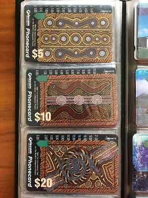 Set Of Aboriginal Art Themed Collectable Australian Telecom Phonecards 90's
