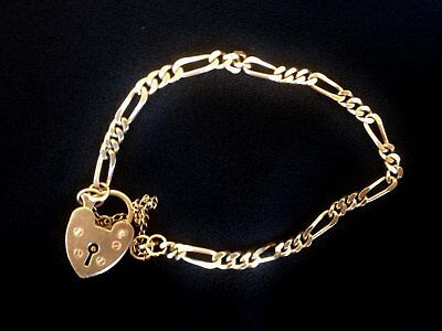 Vintage Gold Bracelet 9ct (375) with Heart Padlock Clasp and Safety Chain