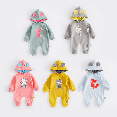 Baby Newborn Thick Winter Romper With Hat Baby Wool Thicken Babygrow Outfit Set