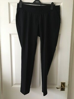 Lovely Next Black Maternity Work Trousers Size 12R - Ankle length