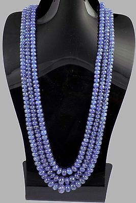 Beautiful 3 Strand Natural Tanzanite Smooth Necklace Beads 510 Cts Size 5.5-10mm