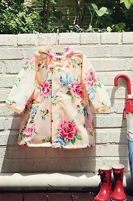 BNWT Girls Pink Floral Hooded Raincoat Size S, M, L, XL, XXL