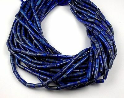 """3 Strand Natural Lapis Lazuli Tube Shape Approx 4x11-5x11mm Smooth Beads 14""""Long"""