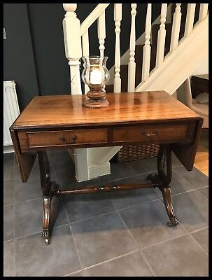 Lovely Quality Reproduction Mahogany Lyre End Drop Flap Sofa Table