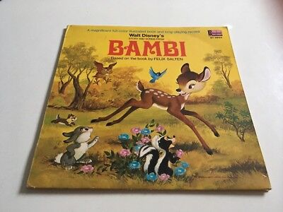 Walt Disney Bambi Story and Songs Long Play Record + Story  Book 1969
