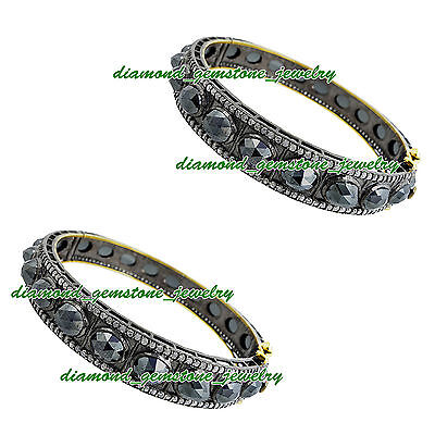 58.00cts ROSE CUT DIAMOND REAL SPINEL ANTIQUE LOOK WEDDING SILVER BRACELET x 2Ps