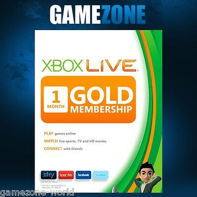 Xbox LIVE 1 Month Gold Membership For Microsoft Xbox One / Xbox 360
