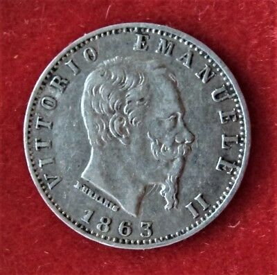 Coin Italy Silver 10 Centimes  1863