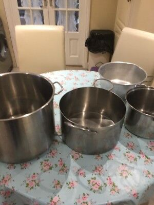 Job Lot of 4x Large Heavy Duty Catering Stock Pots Pans Boiling Casserole Soup