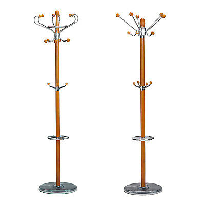 Natural Timber Wooden Coat Stand Hat Rack Clothes Jacket Bag Hanger - Light