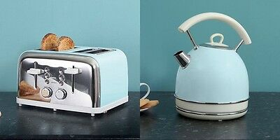Duck Egg Kettle and 4 Slice Toaster Kitchen Vintage Aid Retro Luxury Classy Set