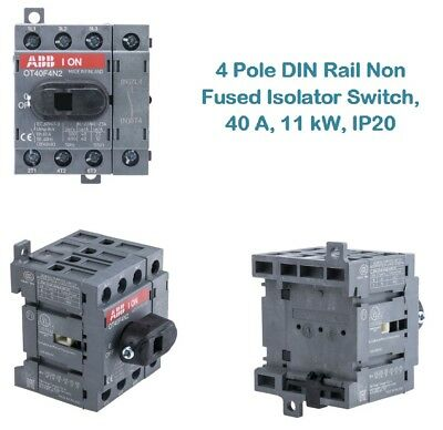 4 Pole DIN Rail Non Fused Isolator Switch, 40 A, 11 kW, IP20 -  1SCA104932R1001