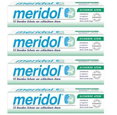 4Pcs - Meridol Halitosis toothpaste - 4x75ml - For irritated gums and bad breath