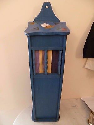 Vintage French, Hand Painted Wooden Baguette Box. French Blue Painted Pain Bin