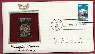 1989 24kt Gold Plated Foil First Day Cover - Washington State Centennial