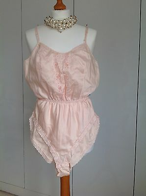 Vintage Shell Pink Embroidered Satin Teddy Cami Knickers size 12