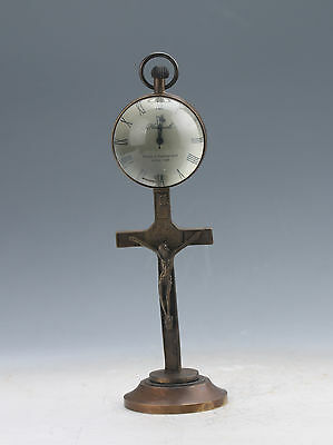 Collectible Old Chinese Brass Handwork Mechanical Table Cross Clock