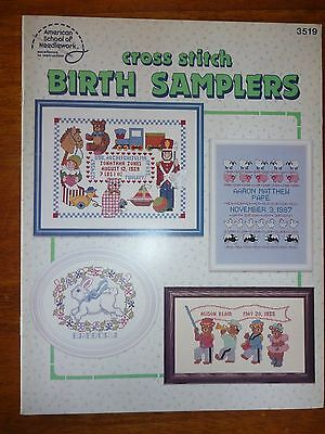 American School Of Needlework Cross Stitch Patterns Booklet 3519 Birth Samplers