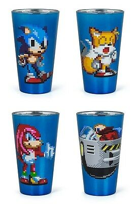 Sonic The Hedgehog Pixelated Pint Glass Set of 4 NIB New In Box