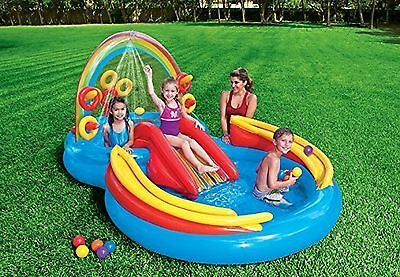 NEW Inflatable Water Play Center Outdoor Swimming Activity Rainbow Ring Children