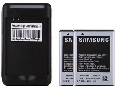 2X New 1350mAh Batteries +  Wall Charger for Samsung Galaxy Ace S5830 EB494358VU