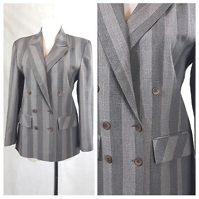 Vintage 80's Jacket Long Fitted Double Breasted Striped Beige Power UK12 EU38