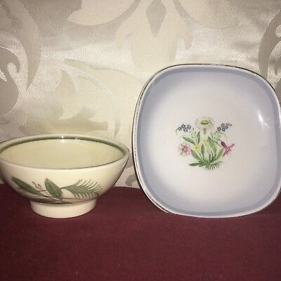 Susie Cooper,Pin Dish With Colourful Floray Spray and Bowl With Green Foliage