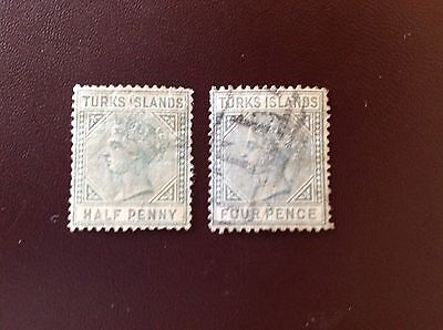 Turks and Caicos 1882-5 2 Values MNG & Used
